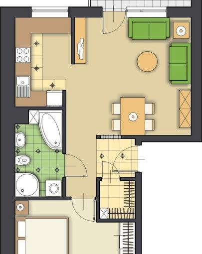 Propozycja 2. W tej wersji łazienka jest o ponad metr większa niż planowana, zmieści się w niej więc i wanna, i kabina prysznicowa. Pokój dzienny od kuchni oddziela fragment ściany, przy której ustawiłam szafkę na sprzęt radiowo-telewizyjny. Przejście między pomieszczeniami zostawiłam otwarte.