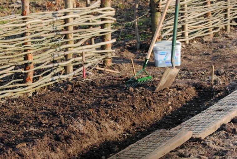 Podniesione rabaty przekopałam jesienią. Teraz tylko rozrzucam kompost, spulchniam podłoże widłami, lekko ugniatam butami i grabię./Fot. Katarzyna Bellingham