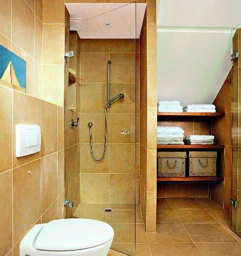 poddasze, kabina prysznicowa, kabina murowana