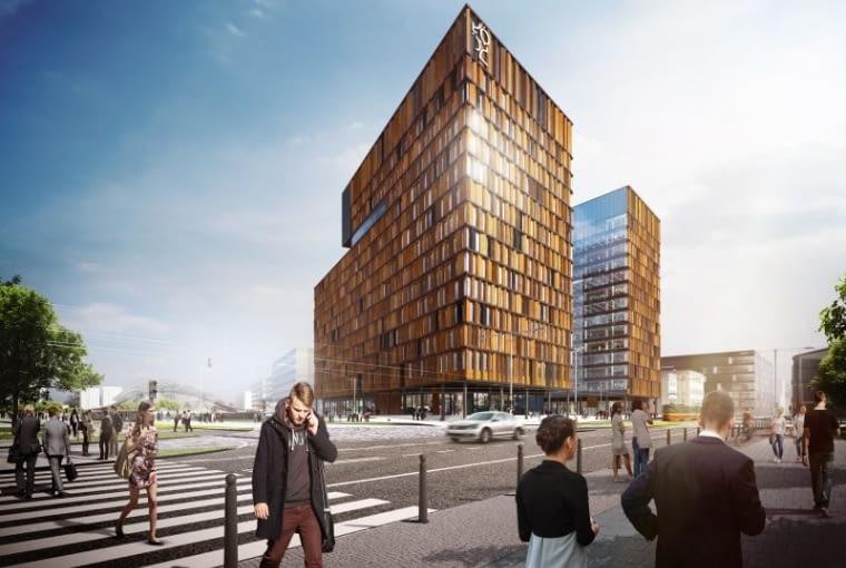 Brama Miasta - nowy biurowiec w pobliżu Dworca Łódź Fabryczna projekt: medusa group, wykonawca: Skanska