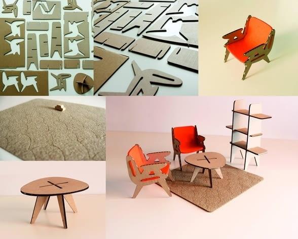 Mebelki do składania Mali Moderniści. II miejsce w konkursie przeprowadzonym w 2013 roku, projekt: MALI: A. Trościankowska i Katarzyna Wołowska