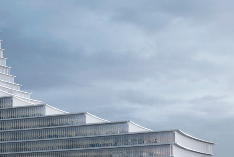 Fragment fasady wieżowca Elbtower w Hamburgu.