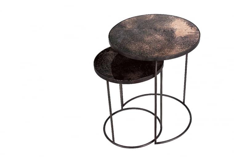Stoliki kawowe BRONZE, metal i lustro, śr. 43 i 56 cm, 2250 zł/2 szt., Nap