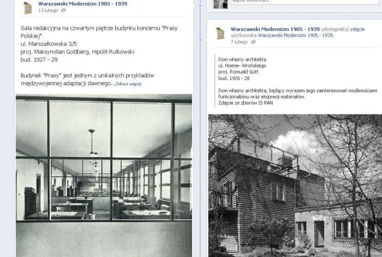 Fanpage na Facebooku Warszawski Modernizm 1905 - 1939