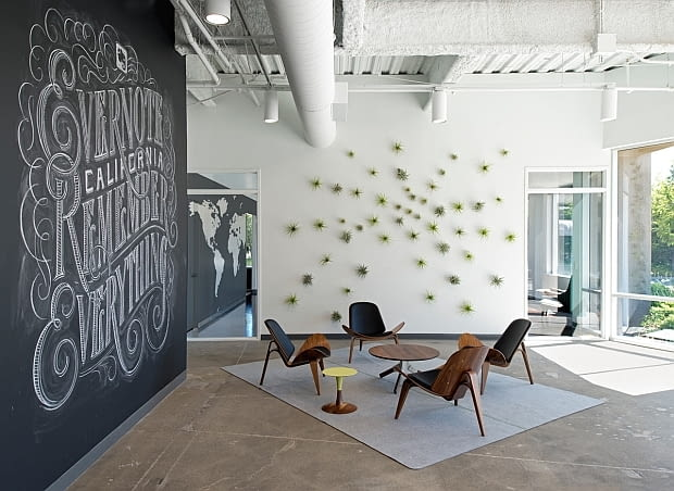 Biuro Evernote, nowoczesne biuro, oryginalne biuro