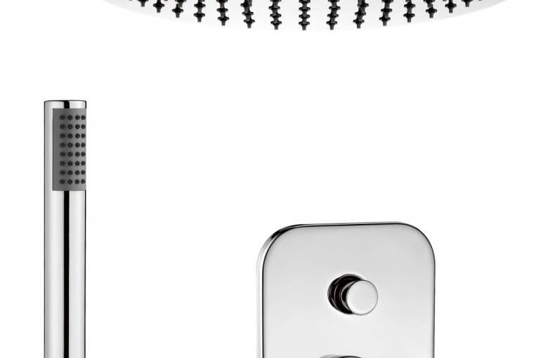 Cynia. Zestaw: bateria z przełącznikiem funkcji, górna głowica, słuchawka na przyłączu; model zawiera wszystkie niezbędne elementy, pasujące do siebie pod względem użytkowym i estetycznym. Cena: 1079 zł DEANTE www.deante.pl