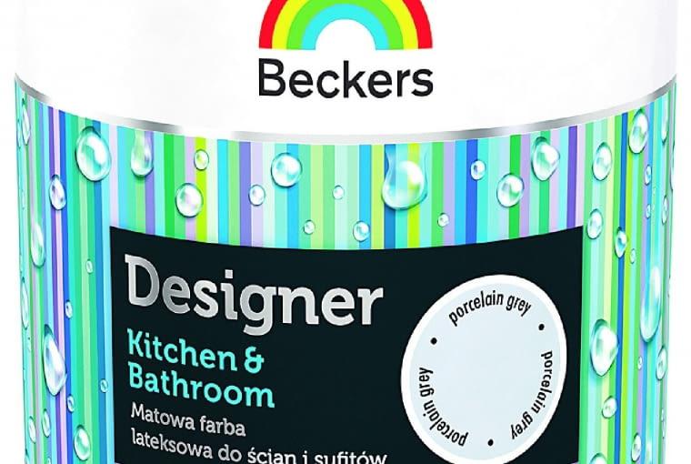 Designer Kitchen & Bathroom/BECKERS| Rodzaj: farba lateksowa ograniczająca przenikanie zabrudzeń | wydajność: do 14 m2/l przy jednokrotnym malowaniu | stopień połysku: matowa | odporność na szorowanie na mokro: klasa 1 wg normy PN-EN 13300 | kolory: biały i 16 gotowych kolorów. Cena: ok. 90 zł/2,5 l, www.beckers.pl