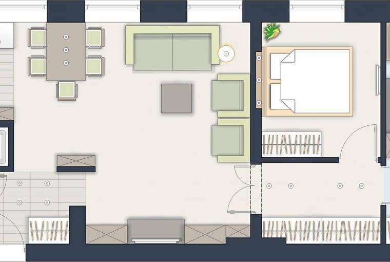 Rozwiązanie 1 <BR />Dodatkowe pomieszczenie wydzieliłam w głębi mieszkania. Dziecięcy pokój usytuowałam za sypialnią rodziców, jest więc bardzo cichy. W obydwu nowych wnętrzach znajduje się okno.