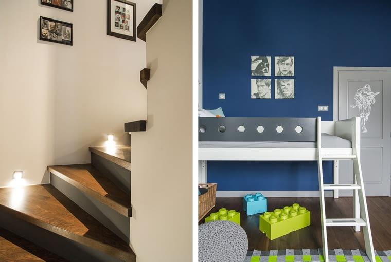 W pokoju dziecięcym użyto ciemnoniebieskiej farby.