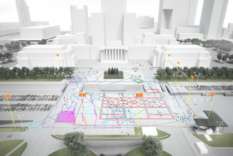 Wizualizacja wielkoprzestrzennej interwencji plastycznej na Placu Defilad w Warszawie.
