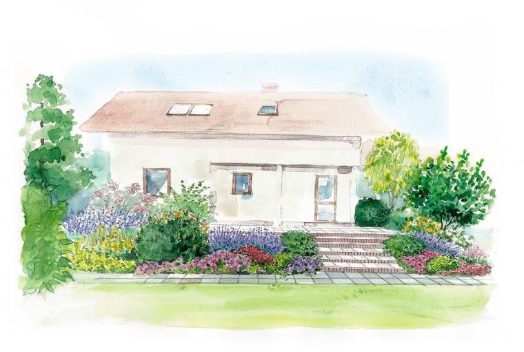 Projekt tarasu z magnolią - widok