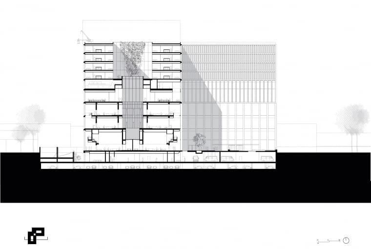 Nowy gmach sądu w Amsterdamie - przekrój