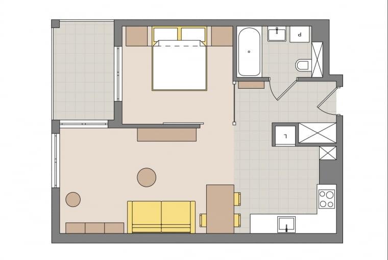 Plan mieszkania: 46 m kw.