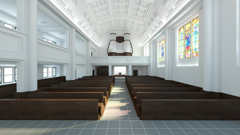 Koncepcja rewitalizacji kościoła w Żórawinie. Proj. hanczarstudio - Szymon Hanczar i Przemysław Słowik