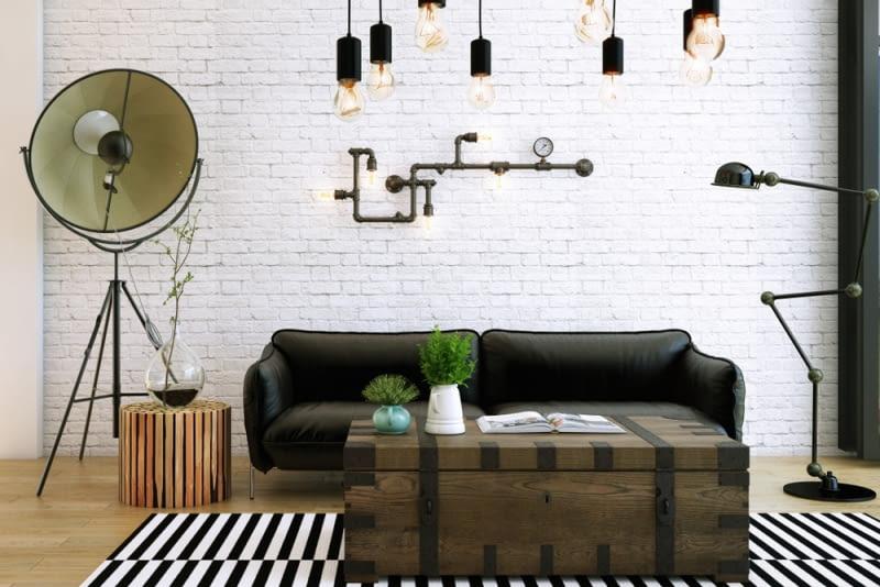 Popularnym rozwiązaniem ostatnimi czasy są lampy industrialne, przypominające swoim wyglądem lampy używane w halach przemysłowych.