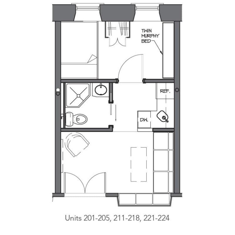 Plan przykładowego mikro-mieszkania