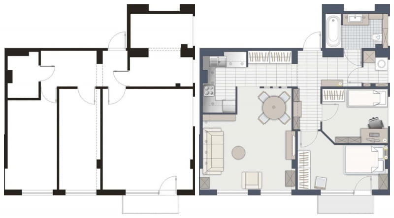 Przebudowa mieszkania - wersja B