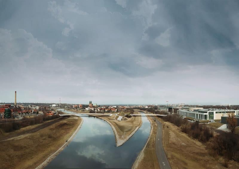 Widok z lotu ptaka na Kładkę Berdychowską