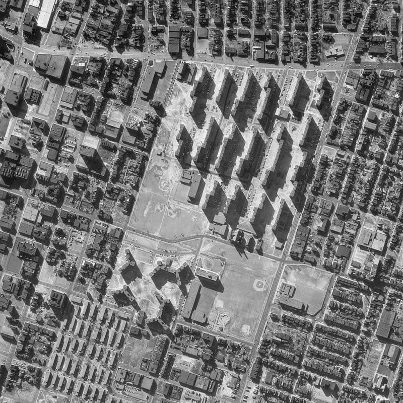 Osiedle Pruitt-Igoe z lotu ptaka - marzec 1968 rok