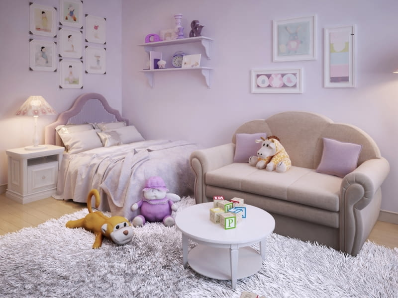 Do pokoju dziecięcego zaleca się wybranie jasnych barw, które pozwolą optycznie zwiększyć przestrzeń