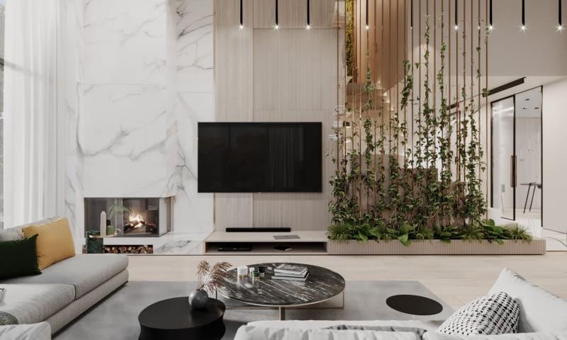 Гостиная - вид на стену с камином и телевизором