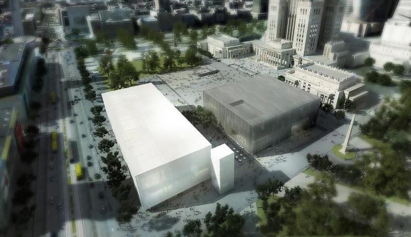Wizualizacje Muzeum Sztuki Nowoczesnej i Teatru Rozmaitości w Warszawie. Proj. Thomas Phifer and Partners.