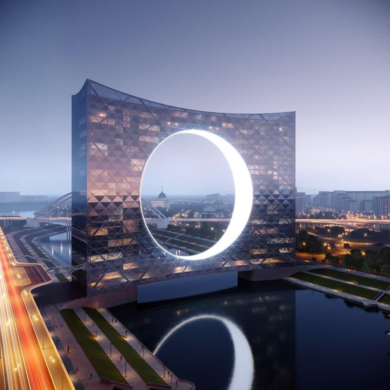 Tower of the Sun w Nur-Sułtanie. Proj. Fundamental Architects i Omega Render.