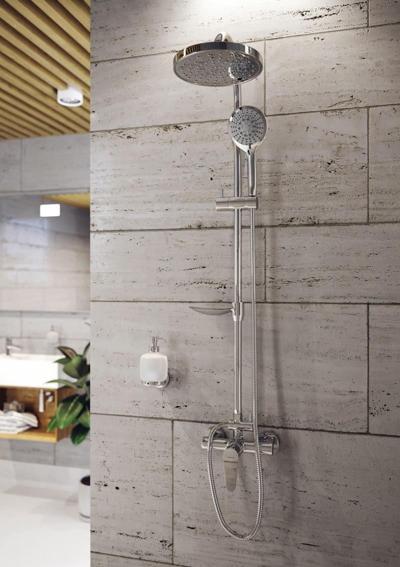 Deszczownia z natryskiem i baterią Algeo, dozownik na mydło Novatorre Metalia 1