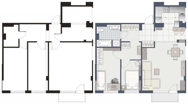 Przebudowa mieszkania - wersja A