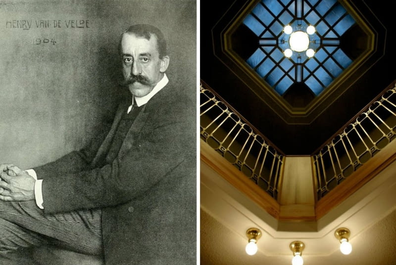 Z lewej: Henry van de Velde w 1904 roku, fot. Nicola Perscheid/ Z prawej: klatka schodowa w Willi Schulenburga
