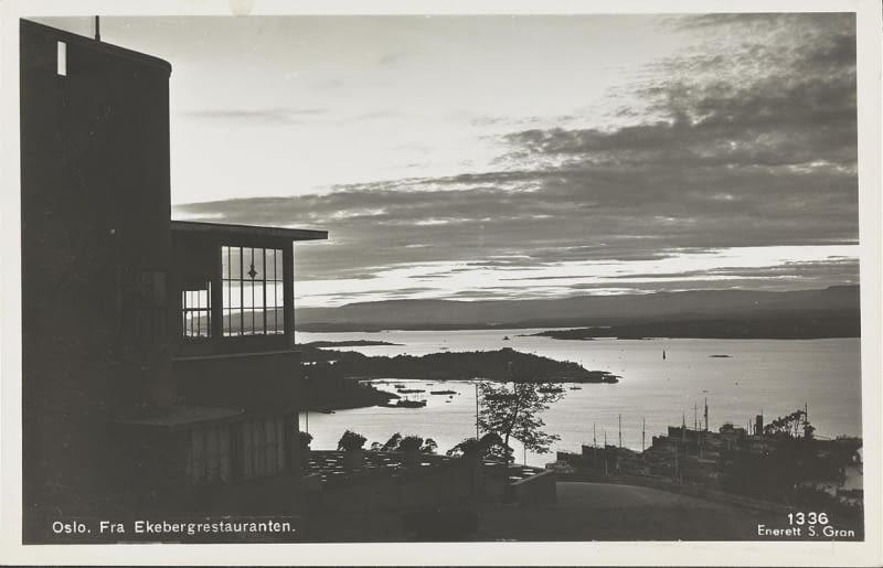 Ekebergrestaurant w Oslo na starej pocztówce