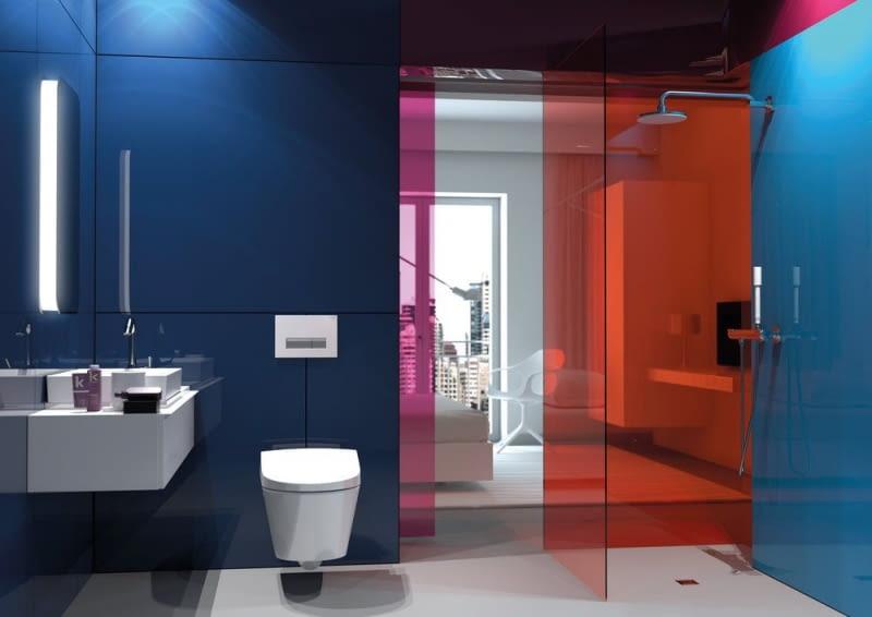 Aranżacja łazienki ze zdalnym przyciskiem spłukującym Geberit Sigma40