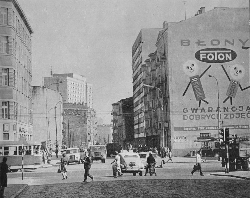 Mural reklamujący markę Foton przy ul. Żelaznej w Warszawie. Zdjęcie z lat 70.