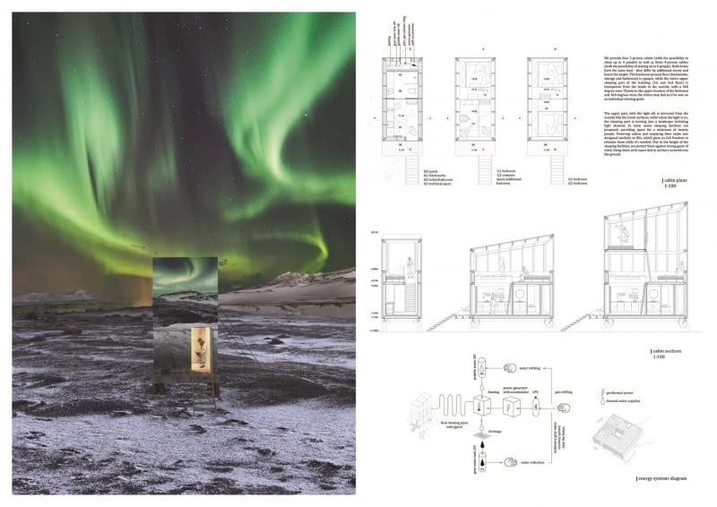 Wizualizacja domków z zewnątrz i plan wnętrz