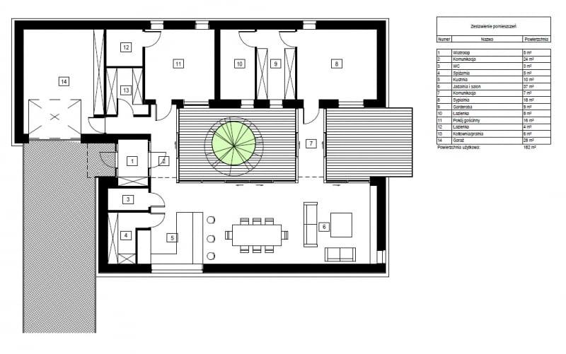 Projekt koncepcyjny parterowego domu atrialnego - rzut.
