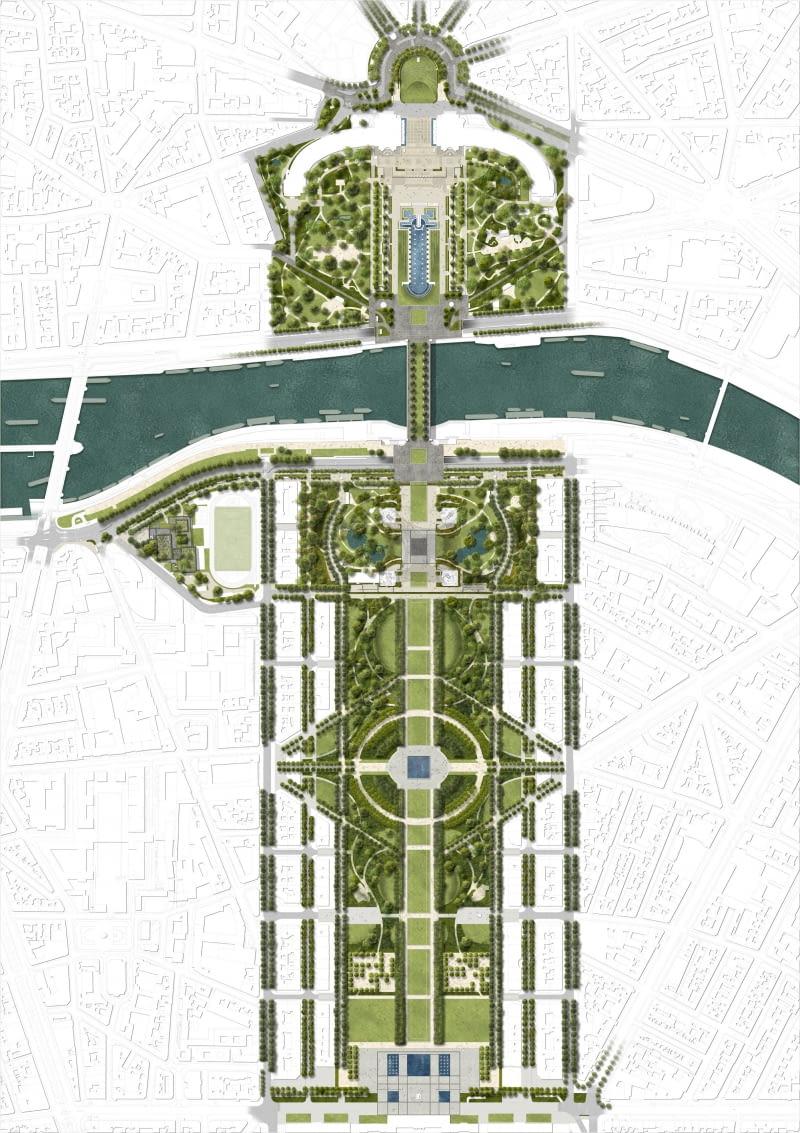 One Line - przebudowa terenów zielonych przy Wieży Eiffla. Proj. Gustafson Porter + Bowman.