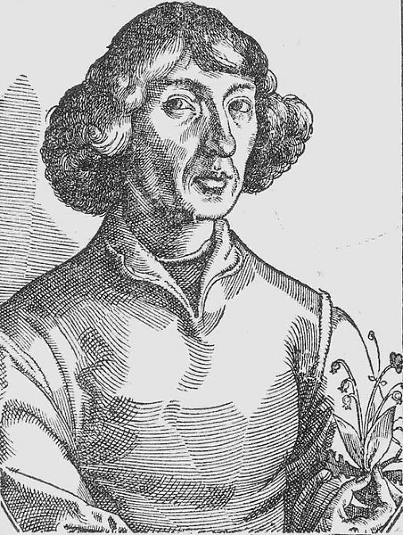 Mikołaj Kopernik z konwalią - symbolem wiedzy i sztuki medycznej.