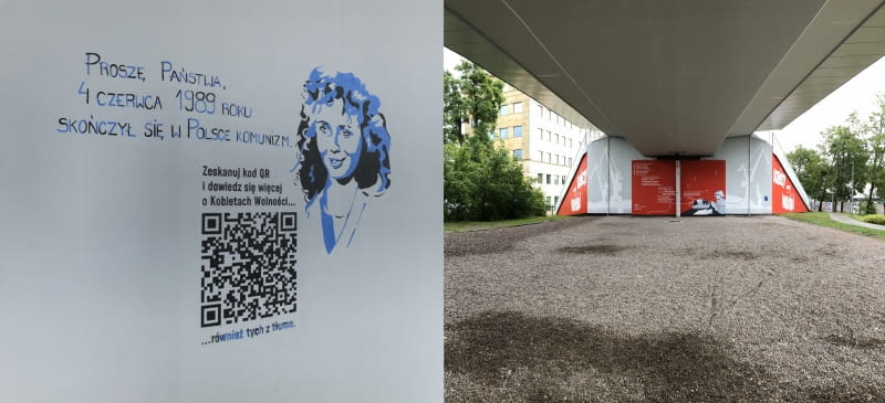 Mural 'Kobiety Wolności' na przystanku PKM Gdańsk Strzyża.