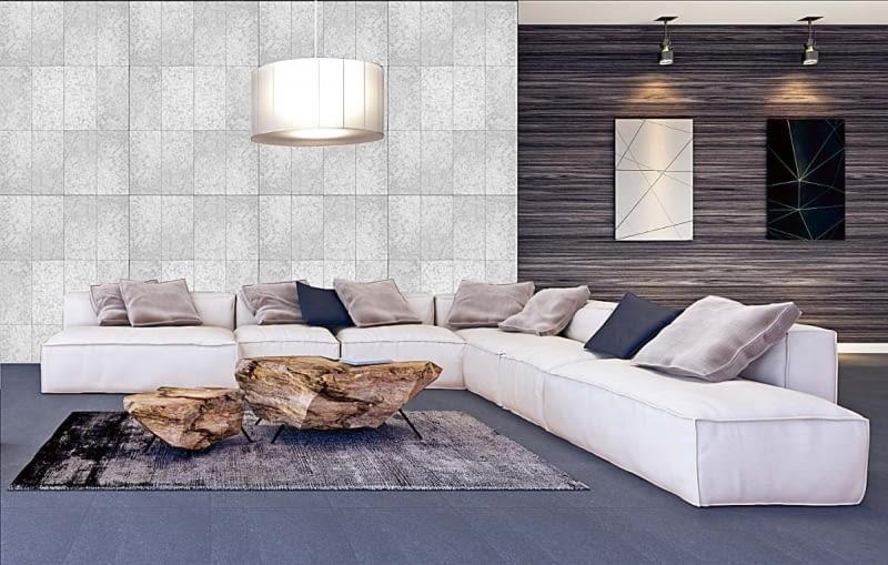 Gładka ściana z betonu ładnie prezentuje się w przestrzennym salonie, ocieplonym oryginalnymi dodatkami. Na zdjęciu: Płytki Socho Decor System, wymiary 50 x 25 cm, gr. 1,2 cm, cena 80 zł/m2, BUSZREM, www.buszrem.pl