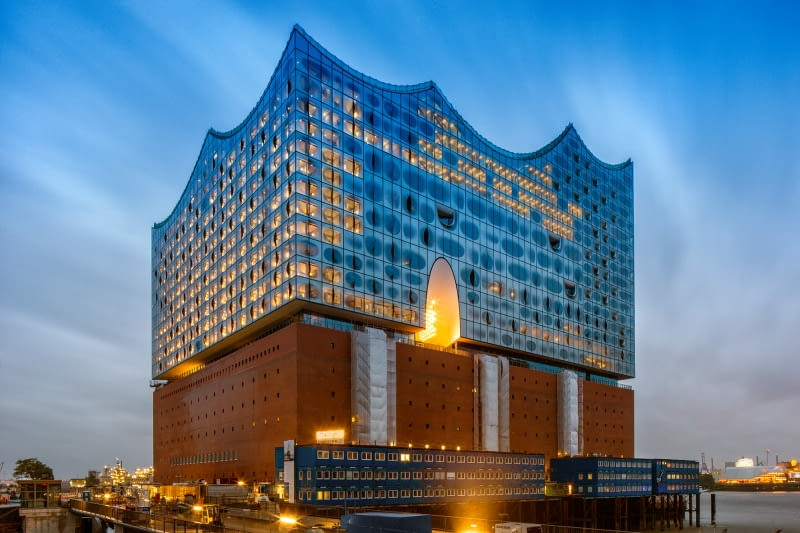 Elbphilharmonie - filharmonia w Hamburgu nad Łabą, projekt: Herzog & de Meuron