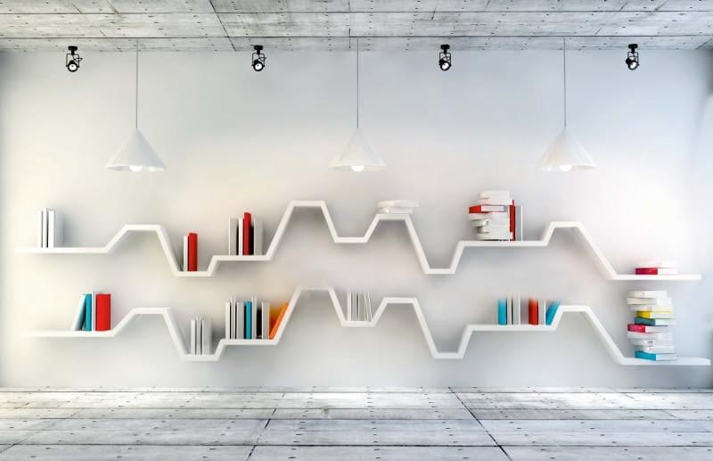 GÓRY I DOLINY. Ta półka została tak zaprojektowana, żeby szczególnie wyeksponować książki. Zdobi ścianę i przyciąga wzrok.