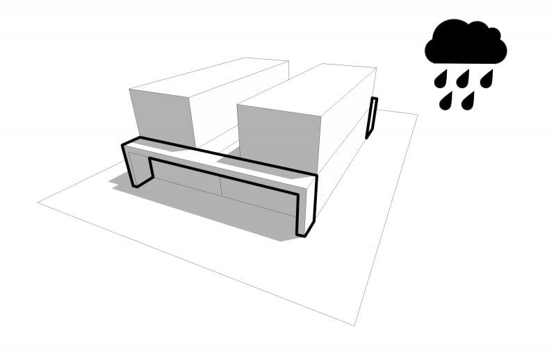 Rozsunięcie pięter pozwala na wyciszenie strefy nocnej w projektowanym bliźniaku oraz podkreśla odrębność poszczególnych domów.