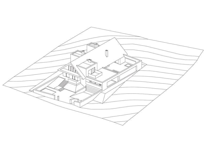 Dom w Kobylanach pod Krakowem. Aksonometria.