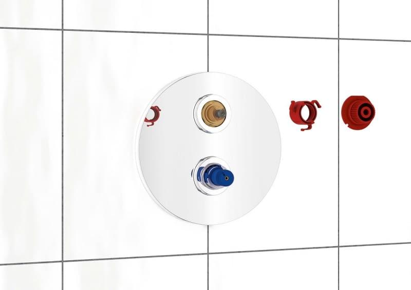 Montujemy wybrany model baterii prysznicowej, np. termostatyczny