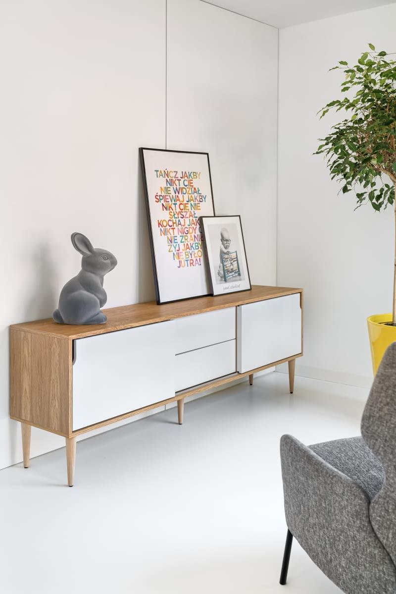 Фигура зайца похожа на мотив путешествия, появляющийся в разных местах и контекстах. Здесь животное сидит на комоде в кабинете, сопровождая изобразительное искусство.