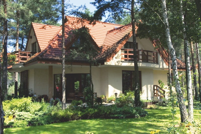 Domy w zalesionych miejscach najlepiej pokryć tynkim silikatowym lub silikonowym.