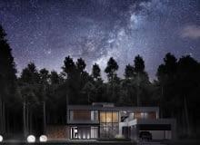 Projekt domu z obserwatorium astronomicznym w Warszawie