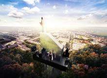 Wieża widokowa w Mielcu zwieńczona figurą Matki Boskiej