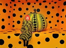 Yayoi Kusama, Kusama with Pumpkin, 2010Installation View: Aichi Triennale 2010Courtesy Ota Fine Arts, Tokyo/ Singapore; Victoria Miro Gallery, London; David Zwirner, New York; og KUSAMA Enterprise Yayoi Kusama
