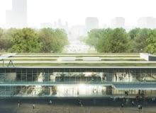Projekt koncepcyjny pawilonu Emilia po przeniesieniu obiektu na skraj Parku Świętokrzyskiego